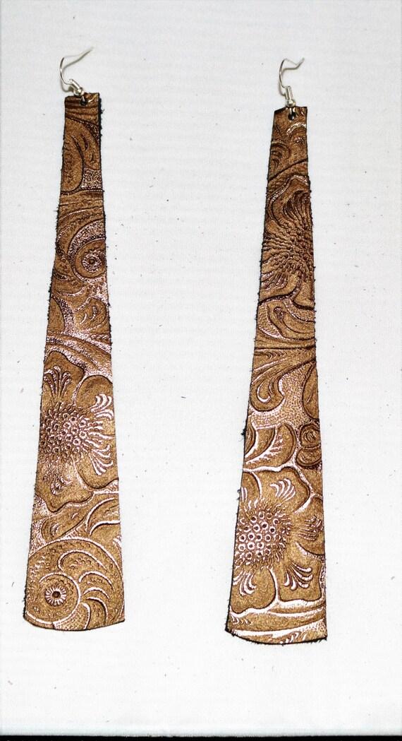 Long strip leather earrings - Lightweight earrings - Dangle Earrings -  Drop earrings - Penny colored, coppery earrings