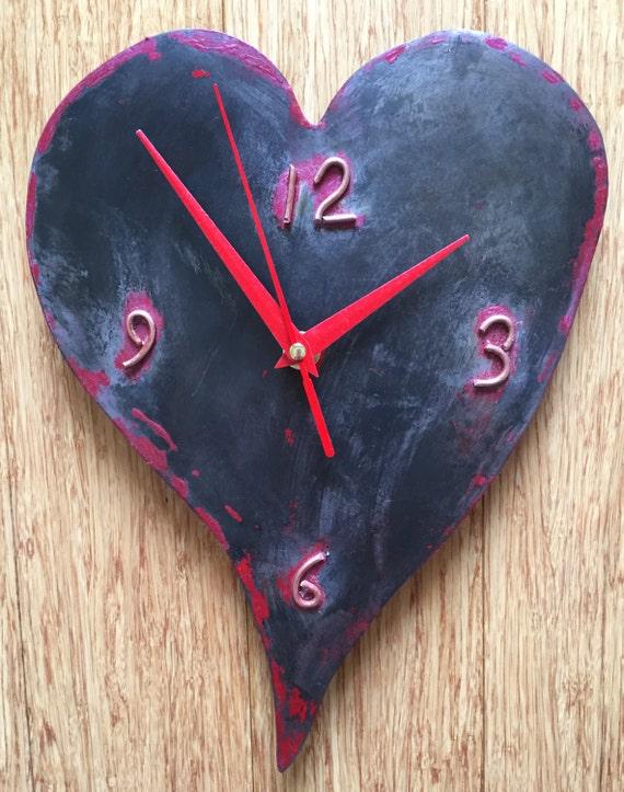 Heart Clock - Steel wall clock