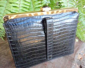 Black Textured Purse With Jeweled Frame