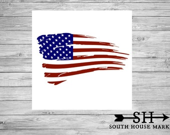 Distressed American Flag Decal, Yeti Decal, Car Decal, Blue and Red Flag Decal
