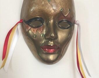 Painted Brass Mardi Gras Mask, Vintage, Female Mask, Hanging Mask, Harlequin, Festive Decor, Carnival Mask, Brass Mask, Collectible