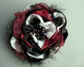 MADE TO ORDER Fabric Flower Pin Set in Dark Burgundy 148cm