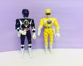 Vintage Power Rangers, 8 Inch Ranger, Karate Action Power Ranger, MMPR, Yellow Ranger, Black Ranger, Bandai 1993 1994, 1990s Action Figures