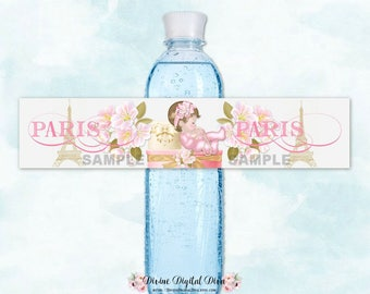 Water Bottle Labels | Paris Cherry Blossom Eiffel Tower Pink Gold | Caucasian Sleeping Baby Girl | Digital Instant Download