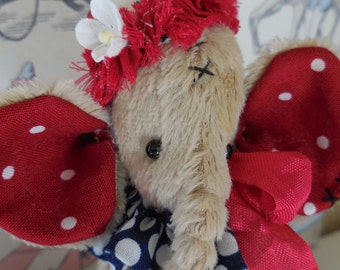 ooak viscose elephant with red and white polka dot ears