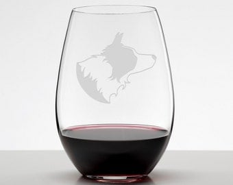 Border Collie Wine Glass, Etched Glass Stemless Wineglass