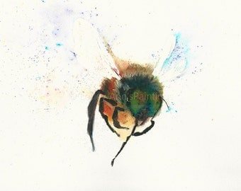 Buzzy Bee A4 original watercolour painting by Lesley Ann
