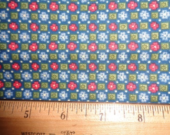 Blue & Red Flowers Squares on Blue/Green Cotton Fabric 2 Yards