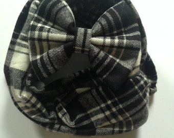 Black and White Flannel infinity scarf and fabric hair bow set