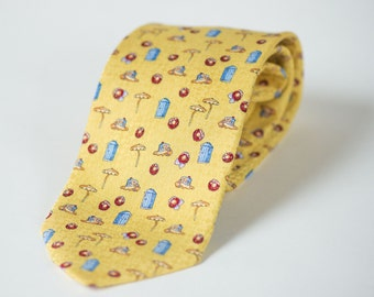 Yellow beach print men's necktie silk tie fun beach umbrellas men's tie blue beach cabins pure silk tie men's necktie Mod Necktie Italy made