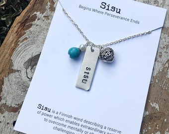 "Sisu necklace - inspirational word jewelry - Finnish gift - courage - grit - bravery - LONG 32"" chain - Love Squared Designs"