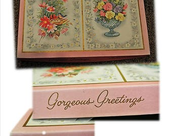 Vintage GORGEOUS GREETINGS, Greeting Cards, Mid Century, Paper, Scrapbook, Vintage Images, Flowers, Floral, All Occasion, Birthday, New Baby