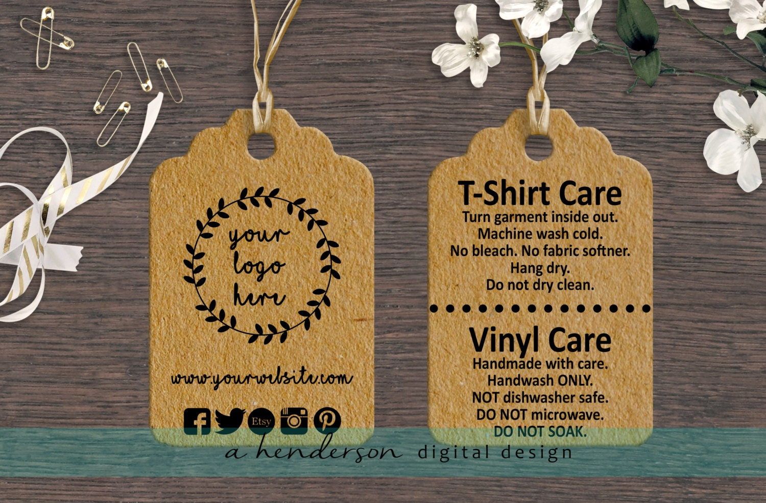 Custom Double Sided Boutique Tags Set Of 100 Care Tags