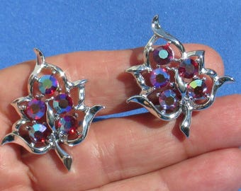 Vintage Sarah Coventry  Aurora Borealis Rhinestone Leaf Shaped  Metal Clip On Earrings With Removable Comfort Pads
