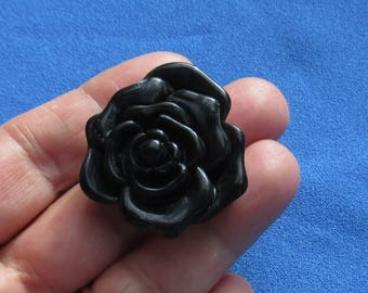 Retro Black & Grey Swirled  Rose Costume Ring