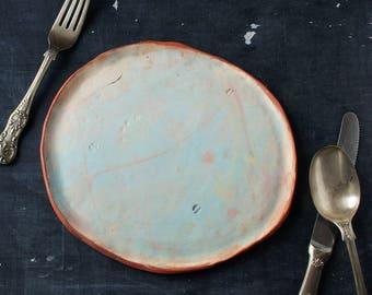Turquoise handmade ceramic platter