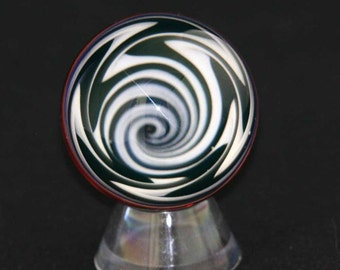 Flameworked Black and White Vortex Marble