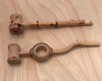 Vintage hand carved bamboo pipe.