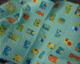 Modern Baby Quilt, Patchwork Quilt, Toddler Quilt, Handcrafted, Crib Quilt, Home made, Baby Boy Quilt, Baby Girl Quilt, Circus Zoo