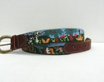 Vintage Leather Belt, 1980s Needlepoint Belt Vintage Animals in Nature, Zoo Jungle Theme, Animal Kingdom Belt, Preppy Belt On The Wild Side