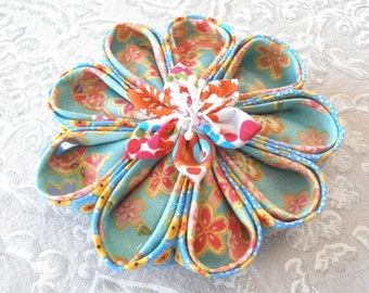 Large flower KANZASHI fabric Japanese turquoise/salmon