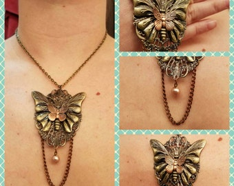 Large multitone butterfly pendant necklace