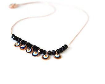 Evil Eye Necklace, Turkish Evil Eye Necklace, Rose Color Evil Eye Protection Necklace, Evil Eye Jewelry, eye accessories nazar Evil Eye Gift