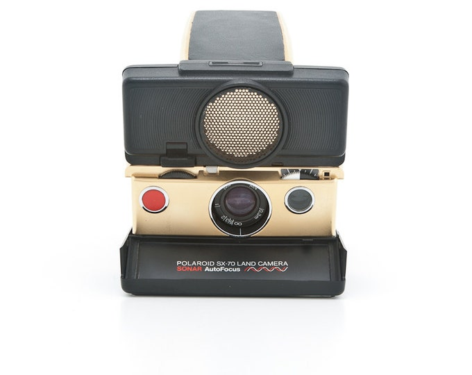 Featured listing image: Polaroid SX-70 Land Camera Sonar AutoFocus - GOLD plated - Refurbished by Impossible Project - film Tested - Guaranteed Working
