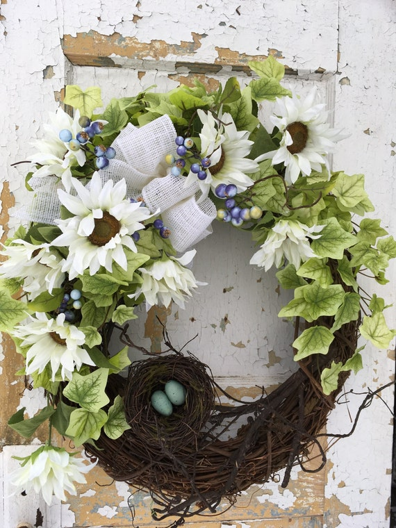 Spring Wreath For Front Door Easter Wreath Spring White