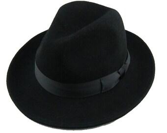 STFHBA - Black Australian Wool Felt Classic Fedora Hat in sizes 54.5-61cm circumference