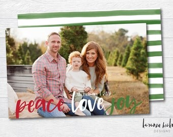 Peace Love Joy - Digital Christmas Cards - Photo Cards - Personalized Christmas Cards