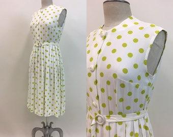 Vintage 1960s POLKA Dot Dress / Chartreuse Green sleeveless Rockabilly