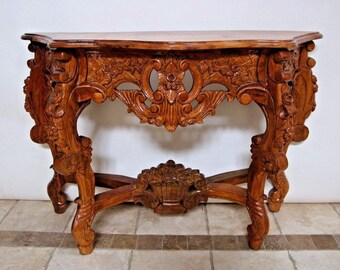 FRENCH ROCOCO Style Large Entry Table Light Wood Ornate Rose Themed Carvings Insured safe nationwide shipping available