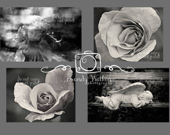Flower photography prints, Angel decor, Angel photo, nature photography, 4x6 postcards, rose photograph, wall decor, flower decor, gothic