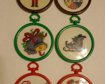 Cross Stitch Tree Ornaments, Aida clothe, cross stitch, christmas
