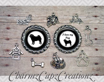10pc Pug Dog Charm Set/Lot/Collection with Bottle Caps / Jewelry, Scrapbooking, Crafts / Jewelry and/or Crafting Kit / Choose Images