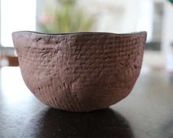 Ceramic bowl brown and black matt handmade