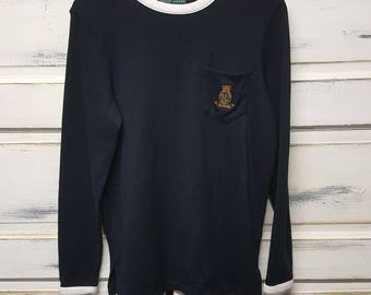 Vintage Ralph Lauren Lauren sweater; Tag Size M Medium; Womens; navy blue and white