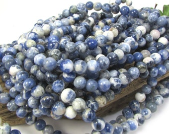 Sodalite Beads, Natural Sodalite 6mm Beads, Blue Gemstone Beads, 16 inch Strand, 6mm Blue Beads, Beading Supplies, Item 1184pm