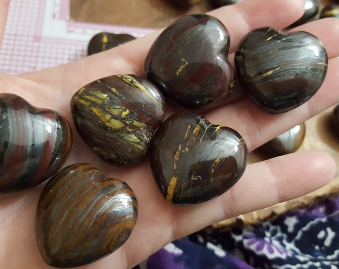 Tiger Iron Heart 30mm ~ 1 Reiki infused crystal heart