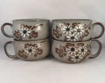 Set of 4 Vintage 1970's Onion Soup Bowls, Two Different Painted Print, Large Soup Mugs, Speckled Grey Soup Mugs