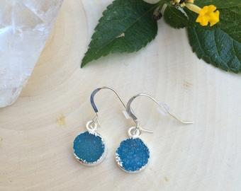 Blue Druzy sterling silver dangle earrings