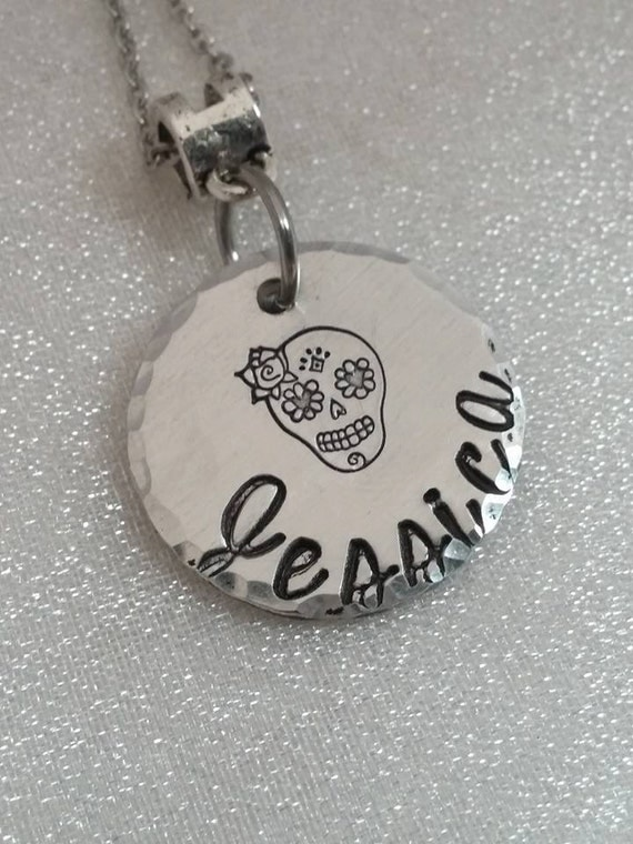 Sugar Skull Necklace - Name Jewelry - Sugar Skull Jewelry - Handstamped Sugar Skull Necklace - Personalized Jewelry - Handmade -Gift for Her