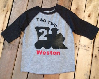 Two Two Train Toddler Shirt - 2nd Birthday Shirt - Two Shirt Toddler - Boys 2nd Birthday - Train Birthday - Train Shirt - Personalized