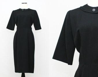50s Black Wiggle Dress - Vintage 1950s Half Sleeve Black Dress