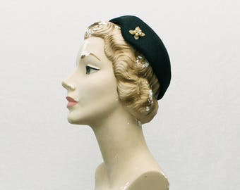 40s Black Pillbox Hat - Vintage 1940s Womens Casque Hat