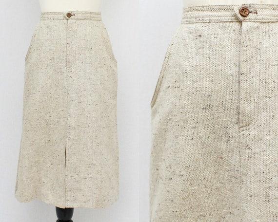 70s Beige Tweed A Line Skirt - Vintage 1970s High Waisted Skirt