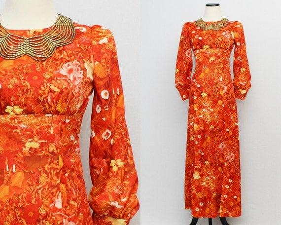60s Orange Floral Print Party Dress - Size Small Maxi Dress - Vintage 1960s Poet Sleeve Hostess Dress