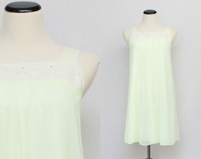 Chiffon Baby Doll Nightie - Pale Green Nightdress - Vintage 1960s Sleepwear by French Maid Co