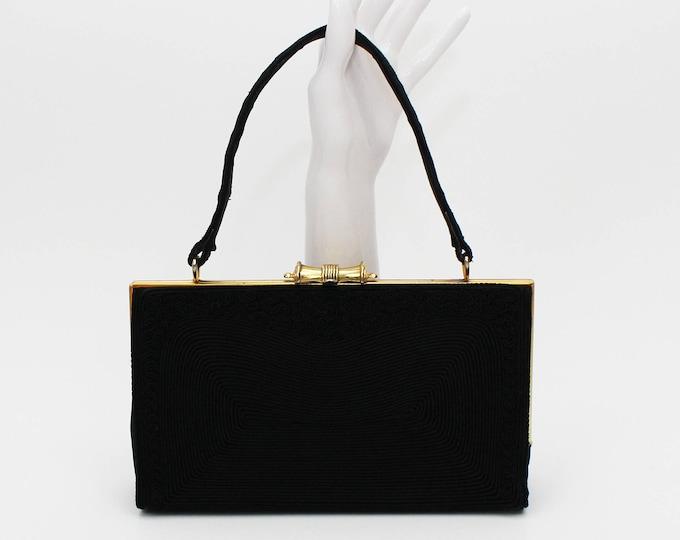 40s Black Cord Handbag - Vintage 1940s Gold Seal Purse